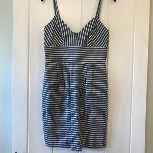 Alex + Alex grey and white striped dress
